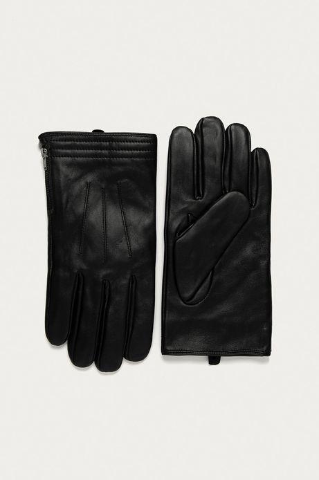 Rękawiczki męskie skórzane z suwakiem czarne