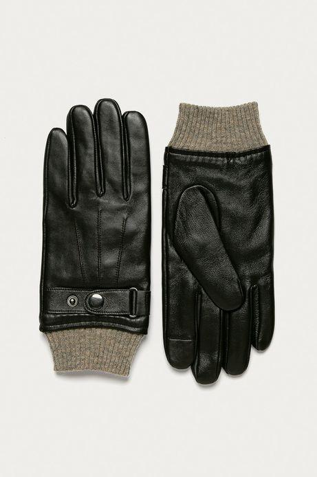 Rękawiczki męskie skórzane touch screen brązowe