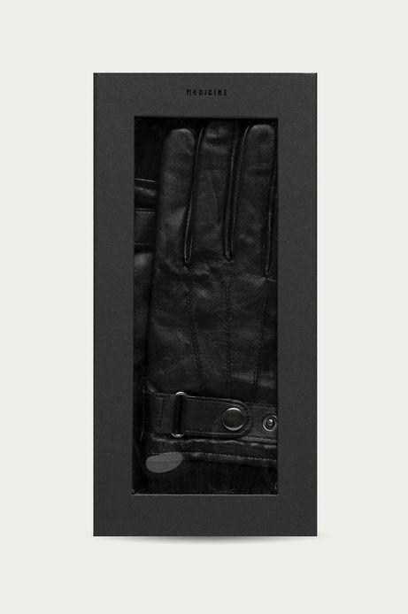 Skórzane rękawiczki męskie w pudełku prezentowym czarne