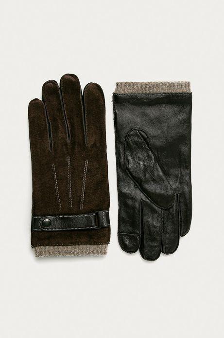 Rękawiczki skórzane męskie brązowe