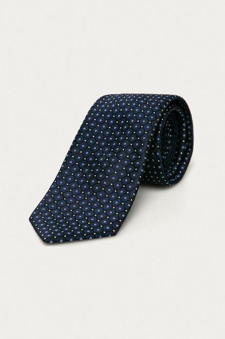 Krawat męski w drobny wzór granatowy