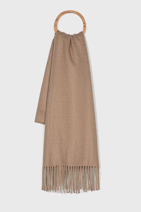 Szalik damski Basic z frędzlami brązowy