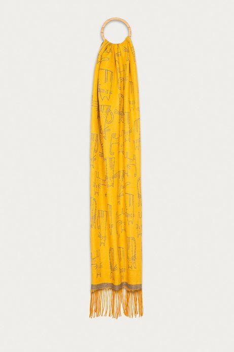 Szalik damski w koty żółty