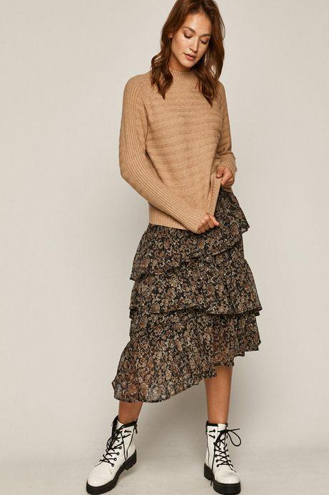 Spódnica damska wzorzysta z falbankami czarna