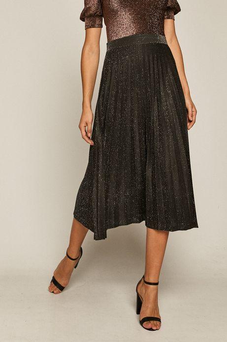 Plisowana spódnica damska z metaliczną nitką czarna