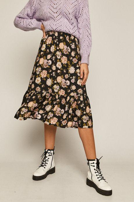 Spódnica damska z falbanką w kwiaty czarna
