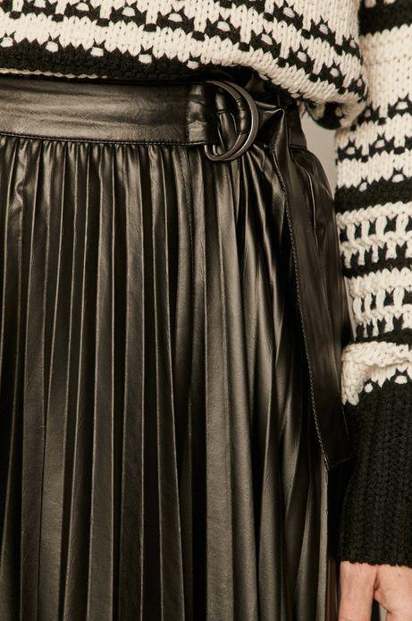 Spódnica damska plisowana z imitacji skóry czarna