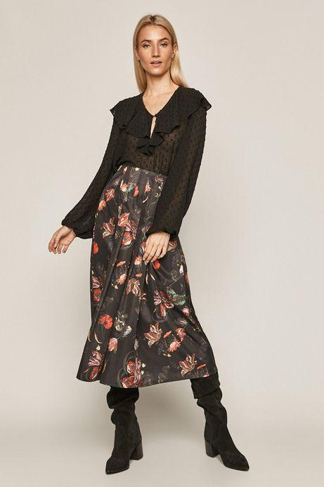 Spódnica damska z zakładkami w kwiaty