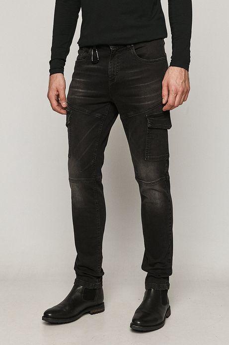Jeansy męskie slim z kieszeniami cargo czarne