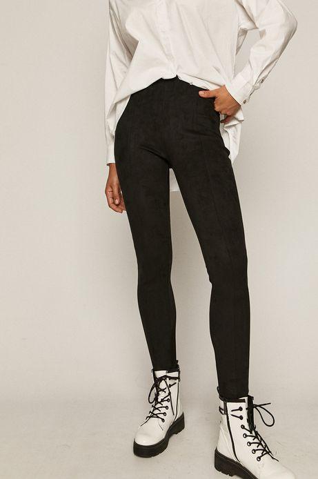 Spodnie damskie z imitacji zamszu czarne