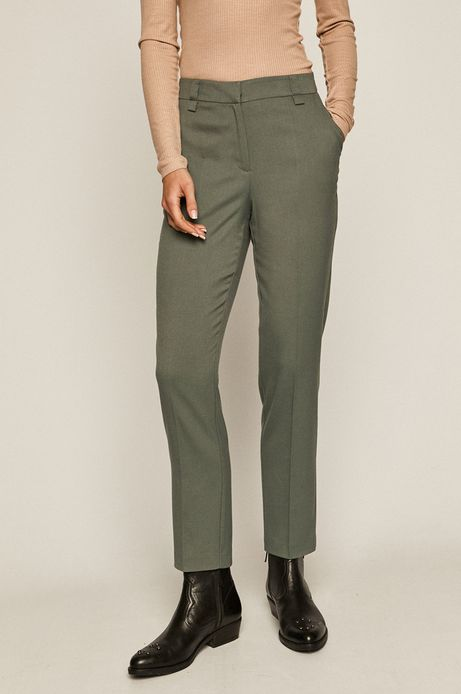 Spodnie damskie w kant zielone