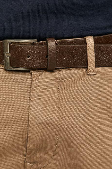 Spodnie męskie chino z paskiem brązowe