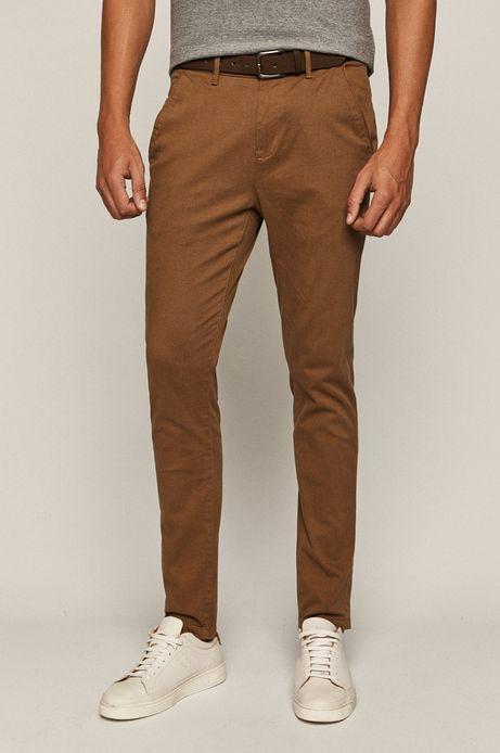 Spodnie męskie slim z paskiem żółte