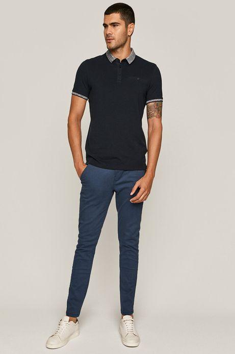 Spodnie męskie slim z paskiem niebieskie