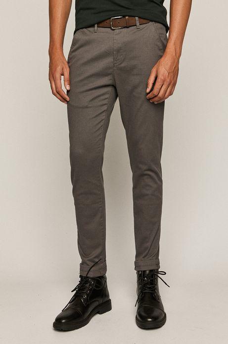 Spodnie męskie slim z paskiem szare