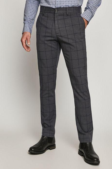 Spodnie męskie slim w kratę szare