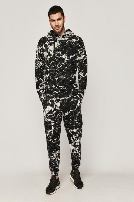 Spodnie męskie dresowe w marmurkowy wzór czarne