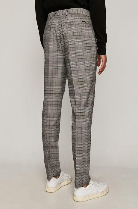 Spodnie męskie z tkaniny w kratkę szare