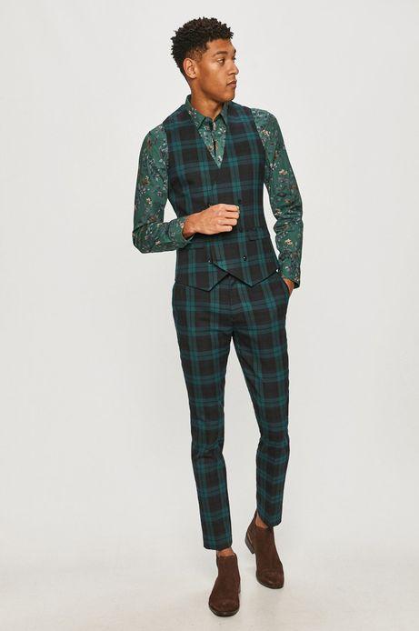Spodnie męskie slim w kratę zielone