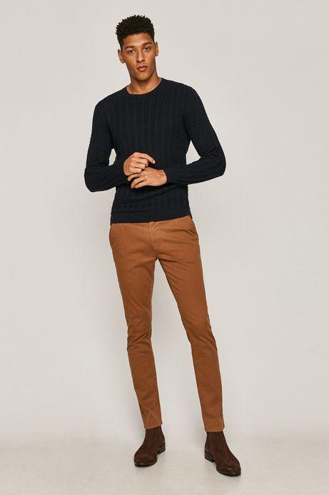 Spodnie męskie slim z paskiem brązowe