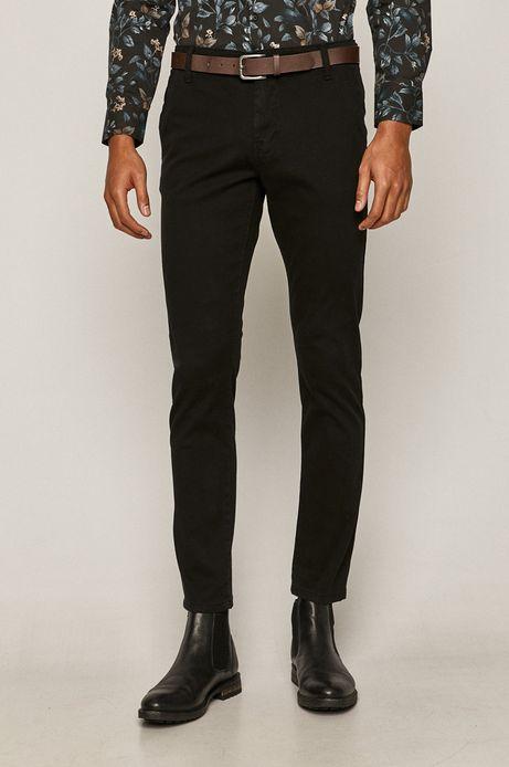 Spodnie męskie slim z paskiem czarne