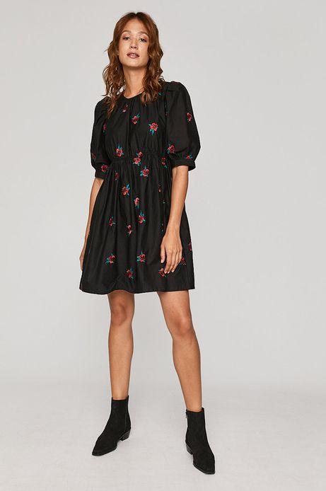 Sukienka damska z haftem czarna
