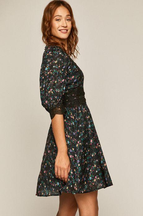 Sukienka damska wzorzysta z koronkową wstawką czarna