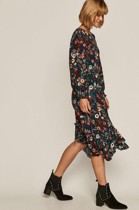 Sukienka damska w kwiaty turkusowa