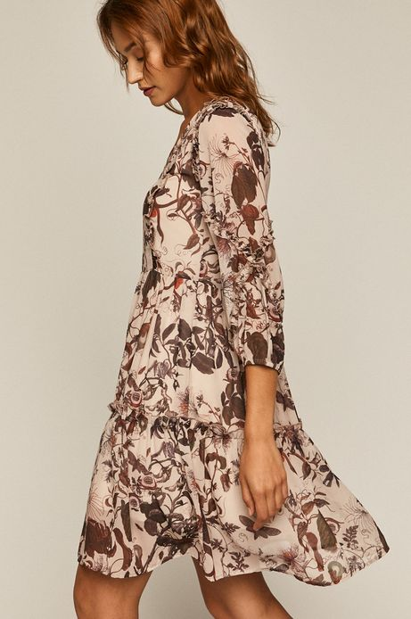 Sukienka damska wzorzysta z falbanką