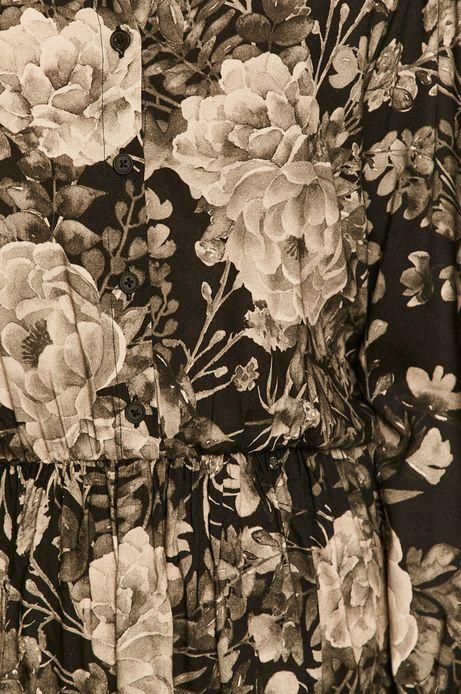 Sukienka damska z bufkami w kwiaty czarna