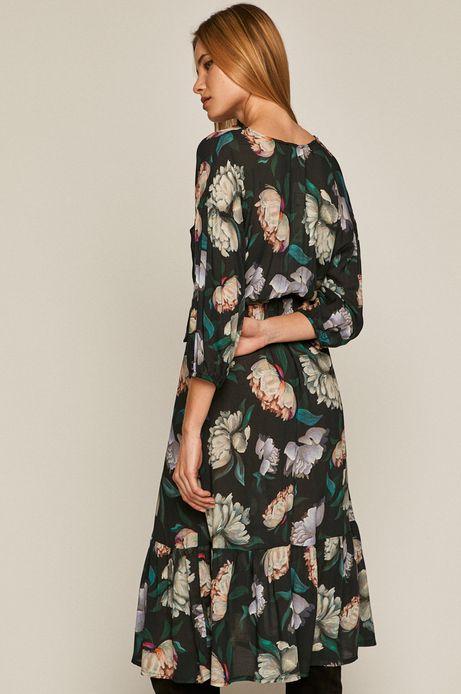 Sukienka damska w kwiaty wiązana w talii czarna