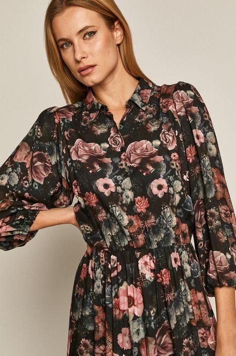 Sukienka damska w kwiaty z falbanką czarna