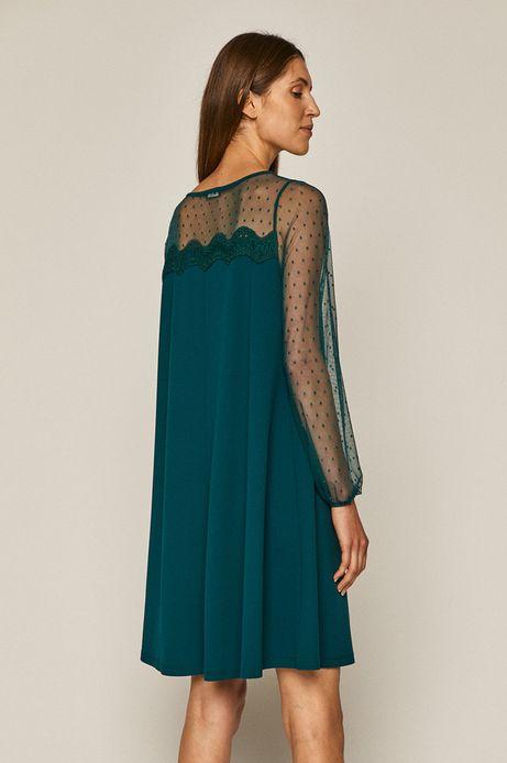 Sukienka damska z transparentnymi rękawami zielona
