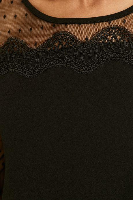 Sukienka damska z transparentnymi rękawami czarna
