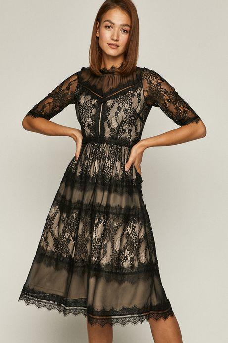 Sukienka damska z koronką czarna