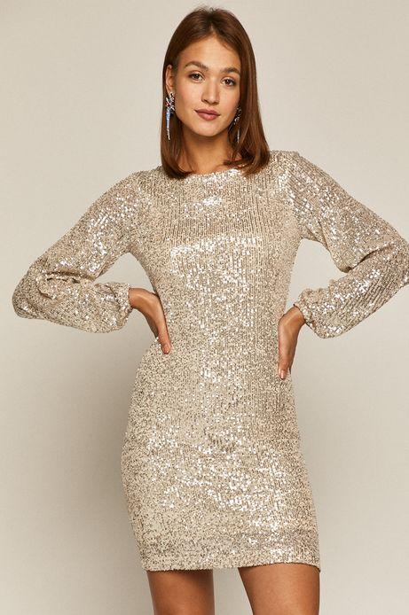 Sukienka damska z cekinami srebrna