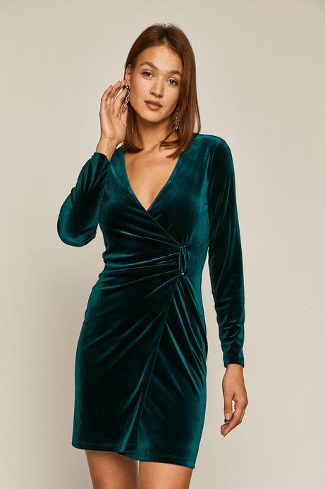 Sukienka damska z aksamitnego materiału z marszczeniem zielona
