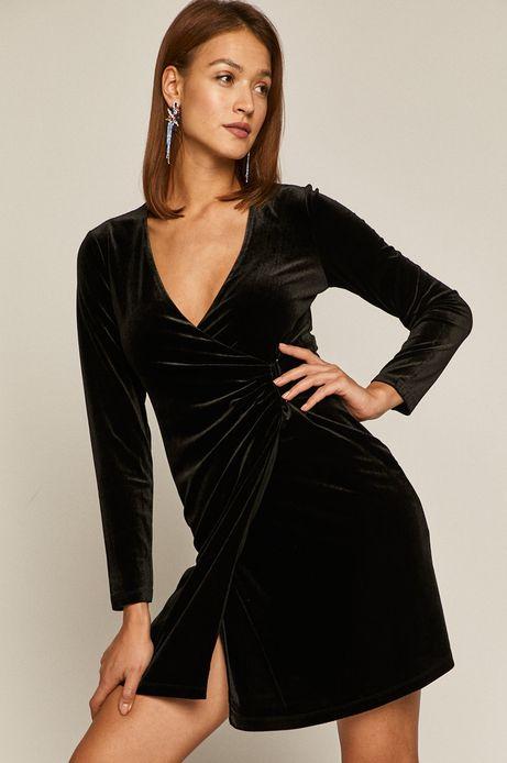 Sukienka damska z aksamitnego materiału z marszczeniem czarna
