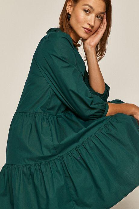 Bawełniana sukienka damska z falbaną zielona