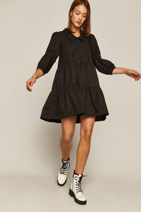 Bawełniana sukienka damska z falbaną czarna