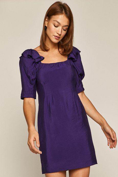 Sukienka damska z wiązaniem na plecach fioletowa
