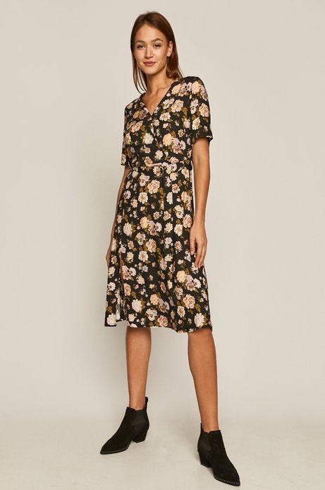 Sukienka damska w kwiaty z kopertowym dekoltem czarna