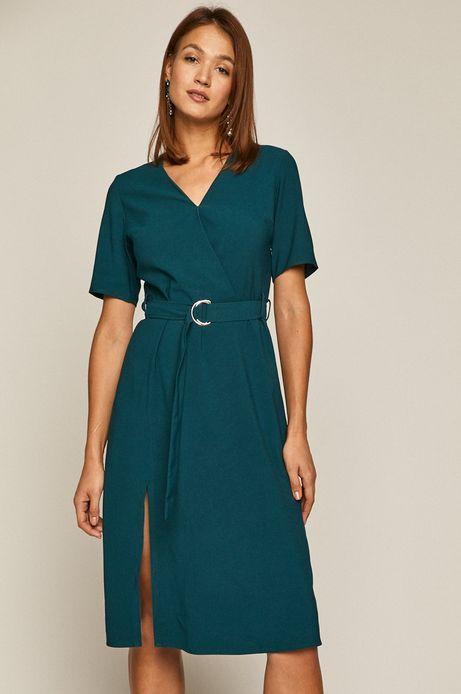 Sukienka damska z kopertowym dekoltem zielona