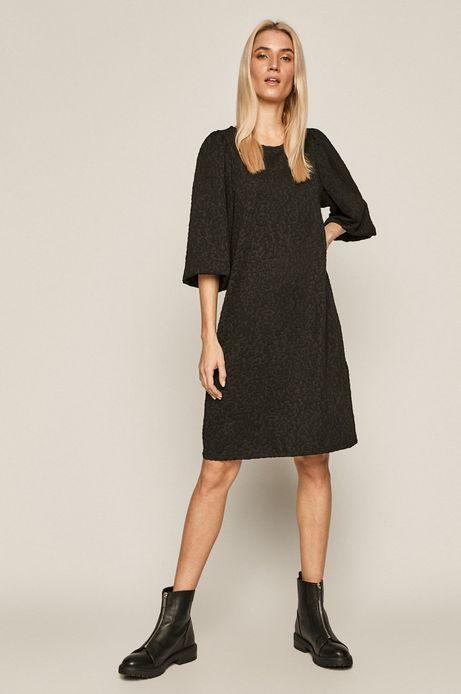 Sukienka damska z wytłaczanym wzorem czarna