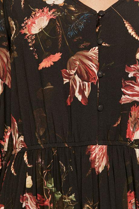 Sukienka damska z falbanką w kwiaty
