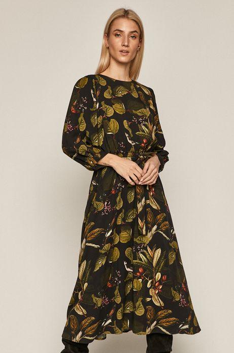 Sukienka damska z motywem roślinnym czarna