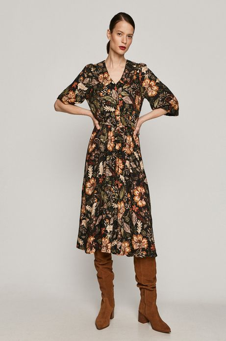 Sukienka damska z kołnierzykiem z kwiaty czarna