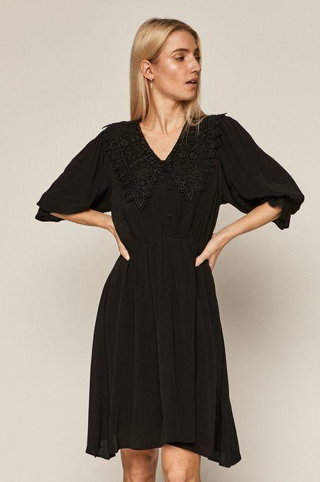 Sukienka damska z ozdobnym kołnierzem czarna