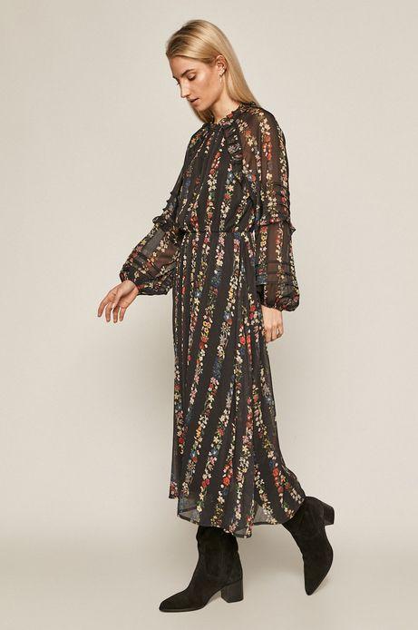 Sukienka damska z falbankami czarna