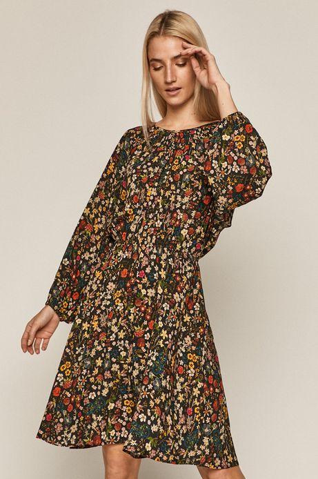 Sukienka damska z tkaniny w kwiaty czarna